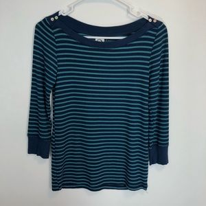 Akemi + Kin Shirt Small T Blue Teal Striped Ribbed